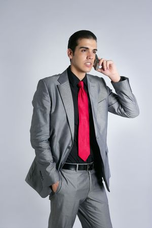 Businessman with gray suit talking cellular phone with suit and red tie photo