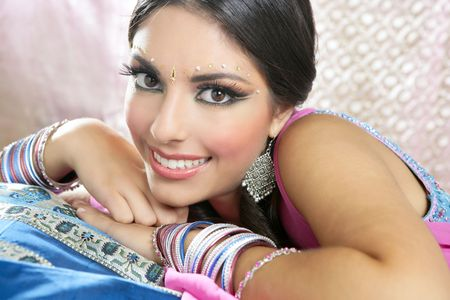 Beautiful indian brunette portrait with traditionl costume Stock Photo - 5897910
