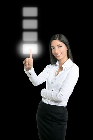 Brunette businesswoman touching virtual pad transparent key with finger Stock Photo - 5897780