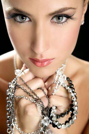 Attractive fashion elegant woman portrait with jewelry