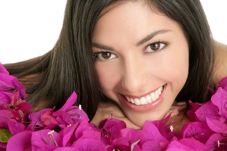 bougainvillea flowers: Beautiful indian woman portrait with bougainvilleas flowers over white