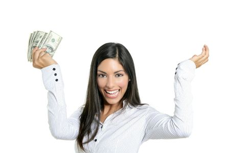 money in hand: Beautiful success businesswoman holding Dollar notes, isolated on white