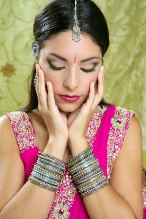 traditions: Beautiful indian brunette young woman with traditional fashion
