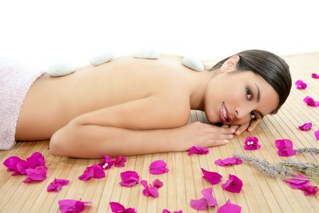 bougainvilleas: Beautiful indian woman portrait in a beauty spa with bougainvillea flowers Stock Photo