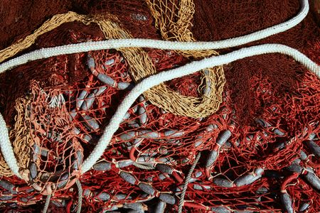 Fishing net and gear for professional fisherman boat, texture photo