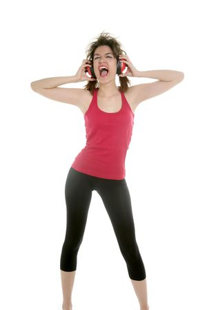 Beautiful sexy woman with safety headphones, noise expression photo