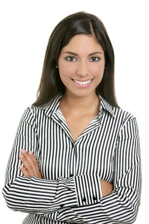 copyspace corporate: Brunette from India bussinesswoman student portrait isolated on white Stock Photo