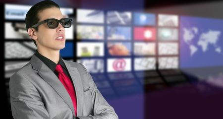 spectator: Cinema in new 3D glasses with boy spectator watching movie on cinema Stock Photo