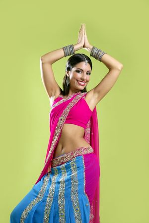 sari: Brunette indian dancer princess Bollywood style, colorful sari