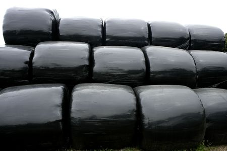 plastic wrap: Black plastic wrap cover for wheat cereal bales outdoor