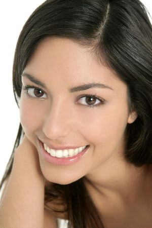beautiful brunette indian woman beauty closeup portrait over white Stock Photo - 6077119