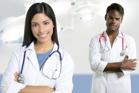 Couple of doctors asian indian woman and african man in the surgery hospital Stock Photo - 6077084