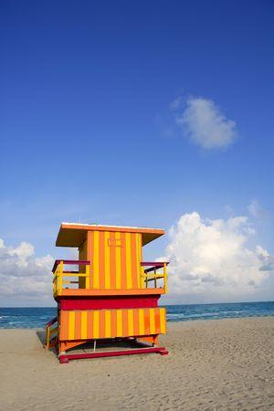 Lifeguard houses protected beaches in Miami Beach Florida photo