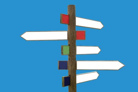 Crossroad wooden directional arrow signs copy space Stock Photo
