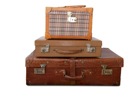 Aged old luggage leather bags vintage retro stacked baggage cases photo