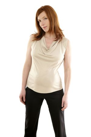 Beautiful pregnant redhead woman fashion white background Stock Photo - 6128725