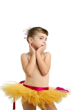 Ballerina little girl portrait posing at studio white background Stock Photo - 6128688