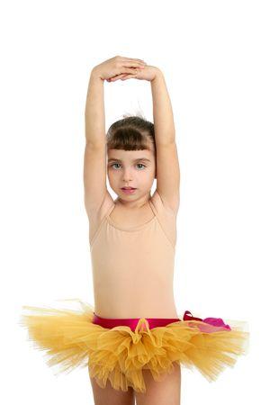 Ballerina little girl portrait posing at studio white background Stock Photo - 6128727