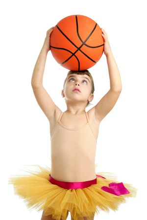 Ballerina little girl with basketball orange ball in her hands Stock Photo - 6127795