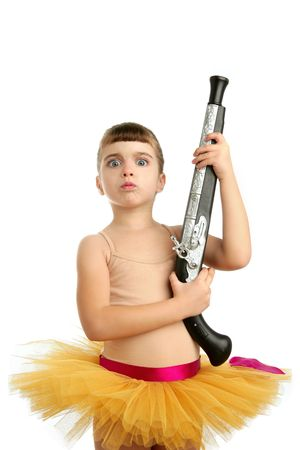 blunderbuss: Beautiful little ballerina girl with blunderbuss weapon power and innocence