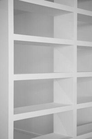 shelfs: bookshelf in white empty blank shelfs interior house