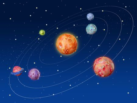 solar system: Space planets fantasy handmade colorful universe galaxy