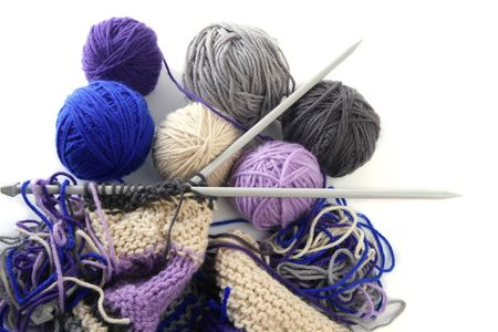 colorful knitting tools with wool thread balls Stock Photo - 6199915
