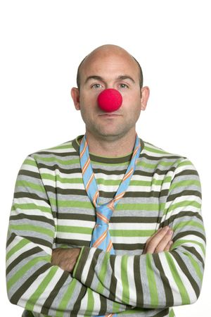 Actor clown posing crossed arms clown nose and tie photo