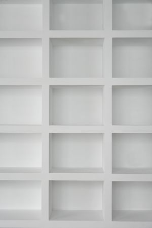 Blank shelving in white empty copy space rows photo