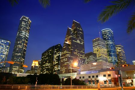 high rises: Houston downtown city urban view with buildings
