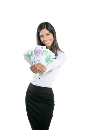 adult indian: Beautiful sucess businesswoman holding Euro notes isolated on white