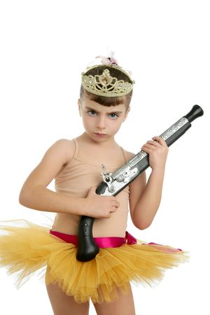 Beautiful little ballerina girl with blunderbuss weapon power and innocence Stock Photo - 6253978