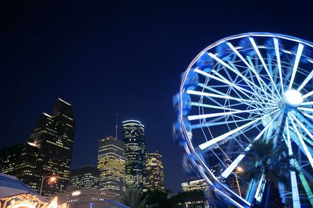 Ferris wheel at the fair night lights in Houston Texas