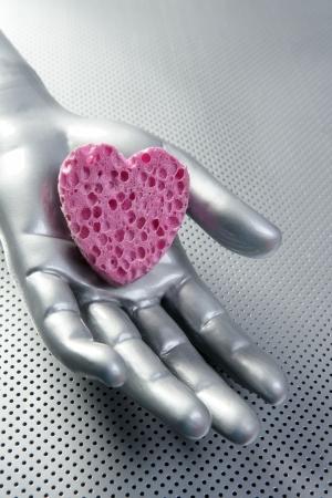 Futuristic love valentine heart metaphor concept in gray silver aluminum photo