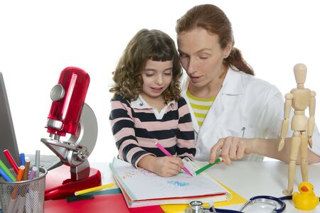 natural sciences: doctor natural sciences teaching pupil at school