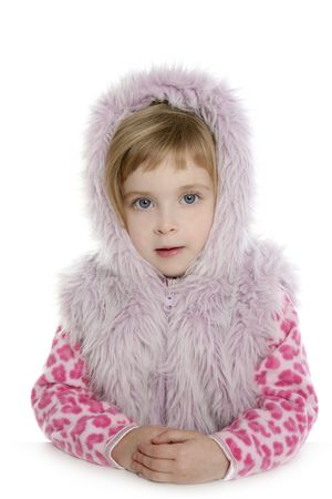 pink fur hood winter coat little girl portrait white background     photo