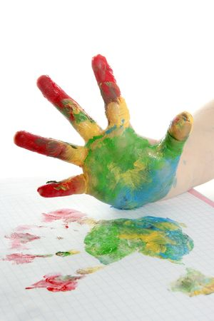 hand print: colorful paint children hand painted over white background    Stock Photo