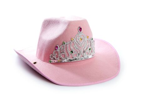 Children girl pink cowboy cowgirl hat with princess crown photo