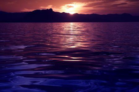 reflexion: Hermoso paisaje marino oc�ano reflexi�n sunset mar azul p�rpura colores