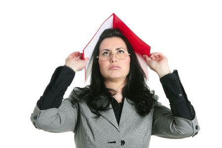 Businesswoman teacher woman busy upset folders in head photo