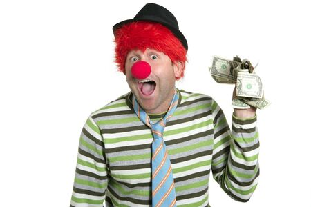 Clown with many dollar currency notes in hand humor funny business photo