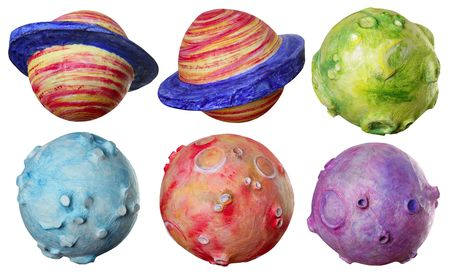 Space fantasy six planets handmade colorful vibrant colors Stock Photo - 6386245