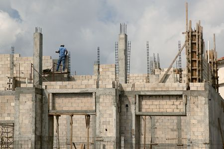 Building house with concrete blocks and columns in south Mexico photo