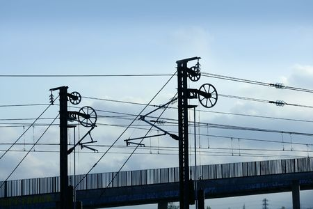 Cables and pole tower electric train railway photo