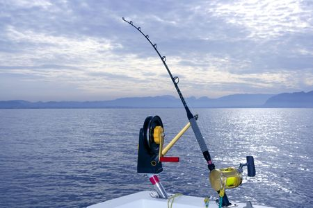 Downrigger boat gear saltwater trolling tackle rod and reel photo