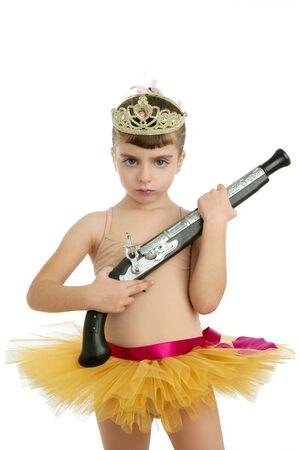 Beautiful little ballerina girl with blunderbuss weapon power and innocence Stock Photo - 6384951