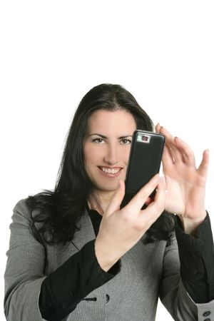 Camera of cell phone on woman hands shooting mobile snapshot photo