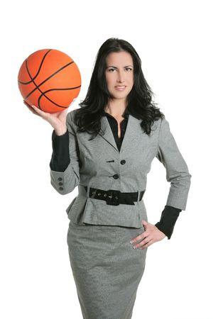 Basketball ball businesswoman gray suit goal metaphor photo