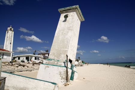 morelos: Puerto Morelos Mexico white inclined lighthouse by hurricane storm   Stock Photo