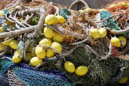 yellow boats: Fishing tacke for professiona net fisherboat in Mediterranean Sea